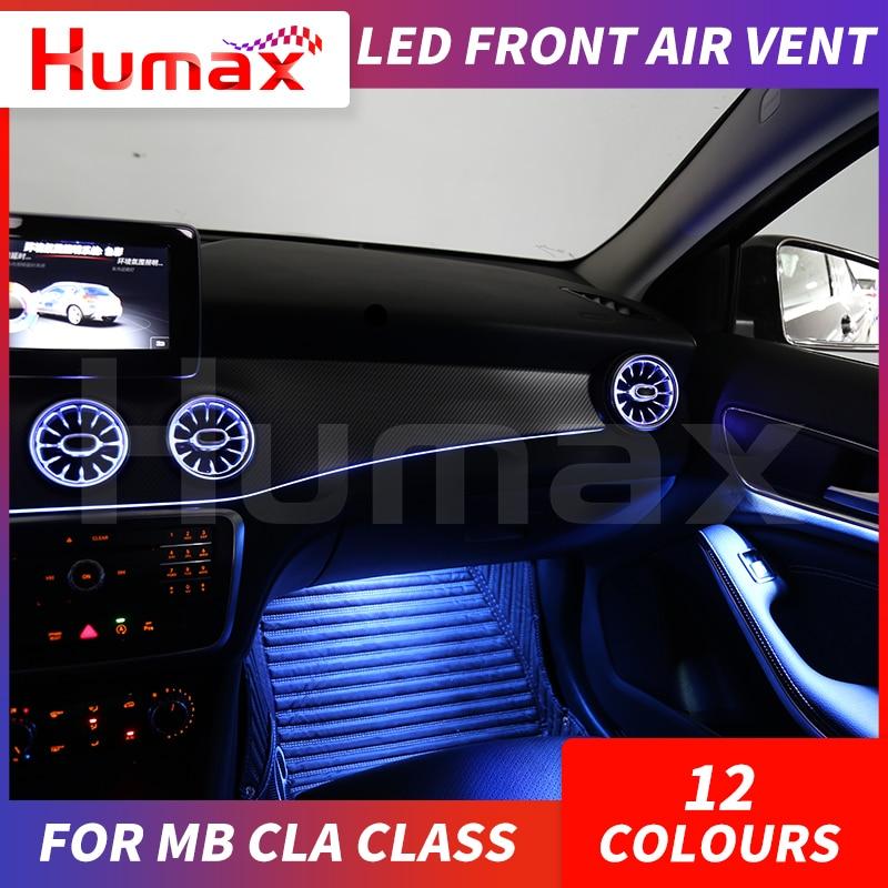 Led turbina ar ventilação ar do carro ar condicionado ventilação decoração lâmpada de luz ambiente para mercedes cla classe w117 sincronizado com luz - 3