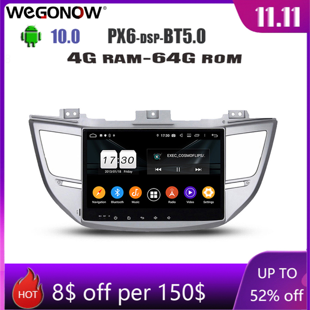 "DSP 10.1"" Android 10.0 4GB RAM 8 Core 64GB Car DVD Player GPS naviga Radio wifi Bluetooth 5.0 For Hyundai IX35 TUCSON 2015 2017"