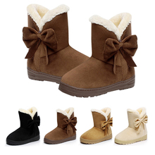 Fur Boots Women Bow Slip On Snow Boots Women Winter Shoes Warm Ankle Boots botas mujer Plush Shoes Flat Booties chaussures femme fur boots women bow slip on snow boots women winter shoes warm ankle boots botas mujer plush shoes flat booties chaussures femme