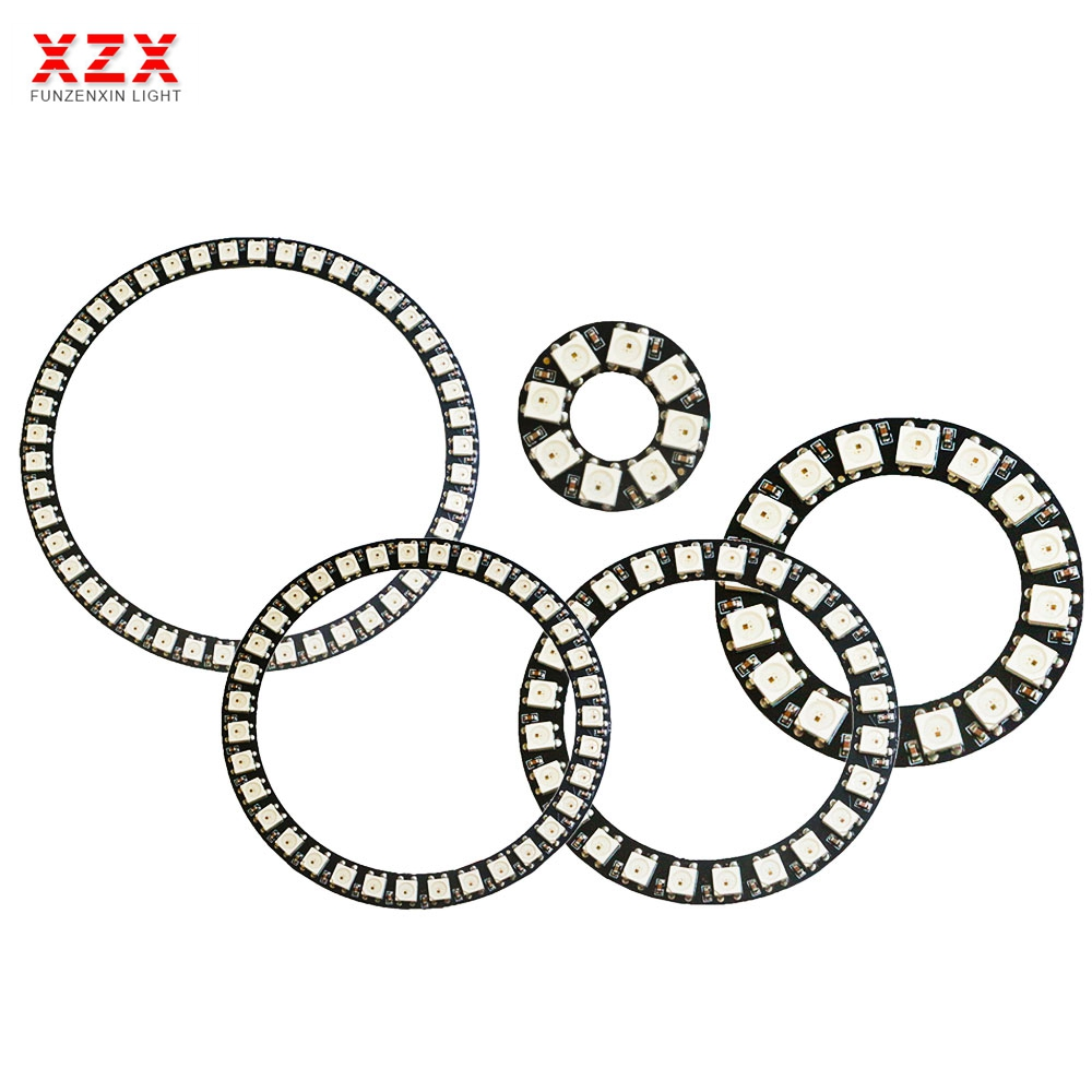 8/16/24/35/45 Leds WS2812B Pixel Ring Addressable Led Modules DC5V WS2812 RGB full color Round Led Circle New