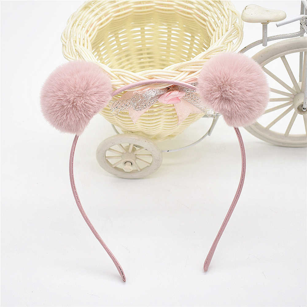 1 Pcs Cute Pompom Cat Ears Headband Solid Color Plush Ball Fine Hair Hoop for Children Girls Headwear Kawaii Makeup Party