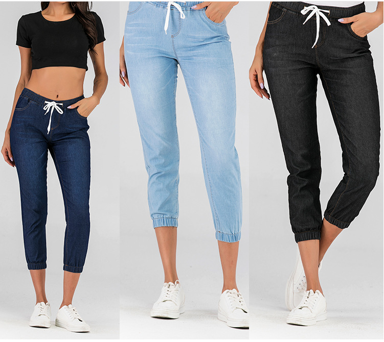 Cross Border Wish Express EBay Amazon Pop Loose Elastic Lace Up Jeans Legged Women
