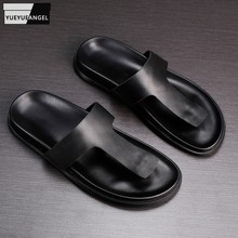 Beach Casual Slippers Summer Male Fashion Shoes High Quality Genuine Leather Flip Flops Mens Classic Outside Gothic Flat Shoes