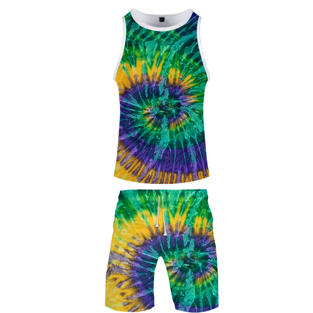 Summer Hip Hop Basketball Clothing 3d Tie Dye Tank Top Men Set Suit For Men Shorts Sets Sleeveless Personality Spiral Colorful