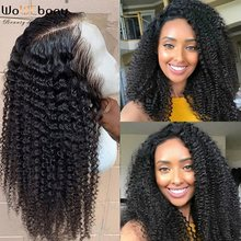Kinky Curly 370 Lace Frontal Wig Brazilian Remy 360 Lace Frontal Wig 150 180 Density Lace Wig Pre Plucked 6 Inch Middle Part(China)