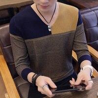 2019 свитер мужской осенне-зимний толстый теплый мужской s свитер Повседневный лоскутный пуловер с v-образным вырезом мужской шерстяной вязан...