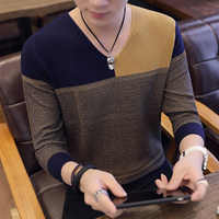 2019 Sweater Men Autumn Winter Thick Warm Mens Sweaters Casual Patchwork V-Neck Pullover Men Wool Knitwear Jersey Hombre