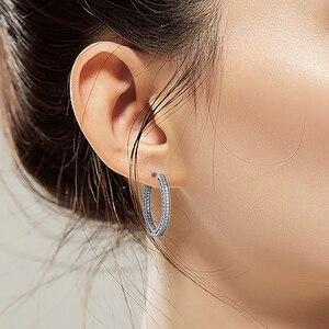 Image 5 - Otantik 925 ayar gümüş kalpler of imza Hoop küpe temizle CZ ile 27 mm küpe kadınlar kızlar için hediye brincos