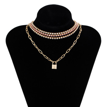 4-Piece Multi Layer Lock Pendant and Tennis Chain Necklace Choker Jewellery Sets Layered Necklace Necklaces Pendant Necklace Metal Color: Gold-color