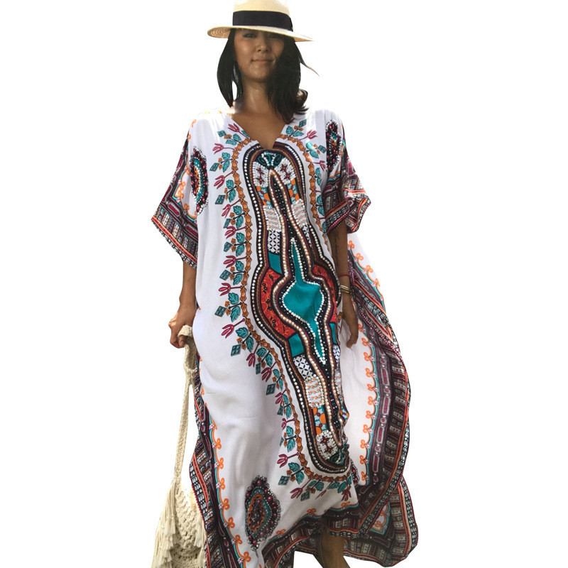 Europe And America Printed Cotton Loose-Fit Beach Long Skirts Bikini Beach Cover-up Kaftan LH40