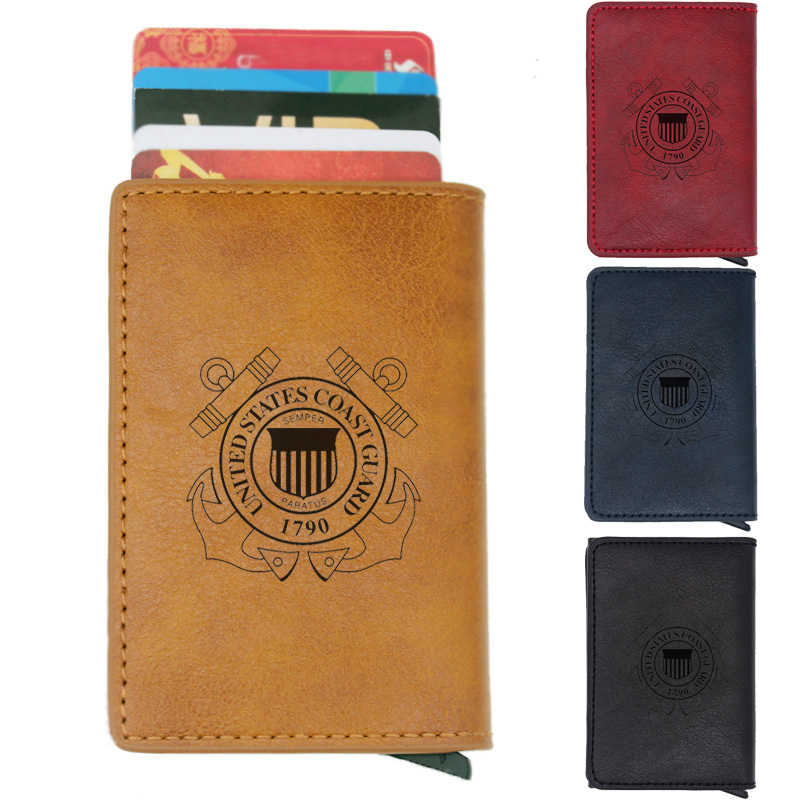Black Coast Guard RFID Protection U.S Aluminum Wallet//Credit Card Holder