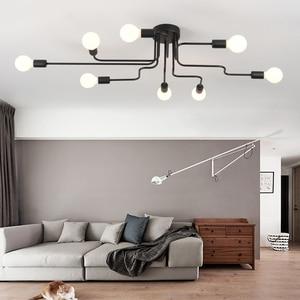 Image 3 - 現代の led シャンデリア照明器具ブラック鉄 4 6 8 支店天井シャンデリアヴィンテージ工業ランプリビングルームのベッドルーム