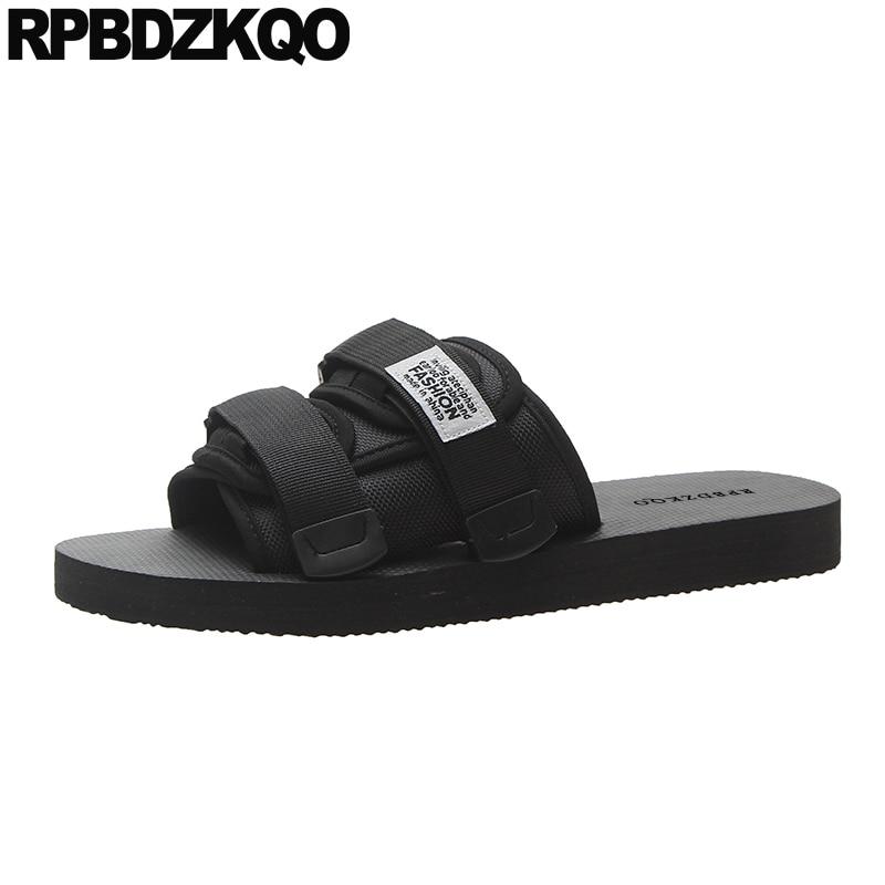 Big Size Black Casual Designer 45 Fashion Plus Mens Mesh Shoes Beach Slides Flat Outdoor 2019 Large Slippers Sandals Slip On
