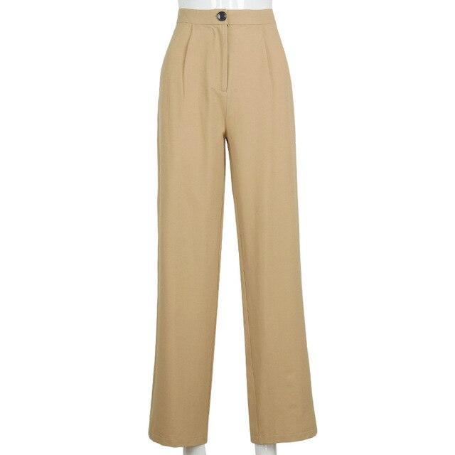 Streetwear Khaki Wide Leg Women Pants Casual Loose High Waist Flared Pants Ladies Long Trousers Pantalon Cargo Femme 5