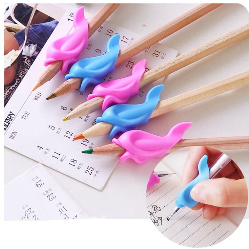 5/10PCS Cute Children Pencil Holding Practise Dolphin Fish Writing Posture Correction Device Silicone Hold A Pen Corrector