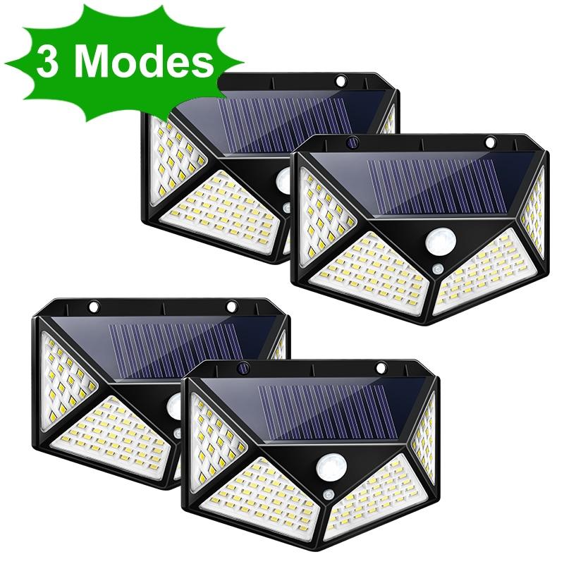102 100 LED Solar Light Outdoor Solar Lamp PIR Motion Sensor Wall Light Waterproof Solar Powered Sunlight for Garden Decoration