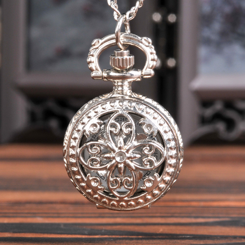 Small Silver Four-petal Hollow Quartz Pocket Watch