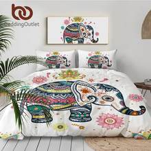 Beddingoutlet 3 Pcs Rainbow Mandala Olifant Dekbedovertrek Set Bohemian Pastel Bloemen Bed Set Hippie Gypsy Beddengoed Koningin(China)