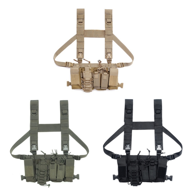 Tactical Chest Rig Bag Radio Harness Chest Front Pack Pouch Holster Military Vest Chest Waist Adjustable Two Way Radio Pocket