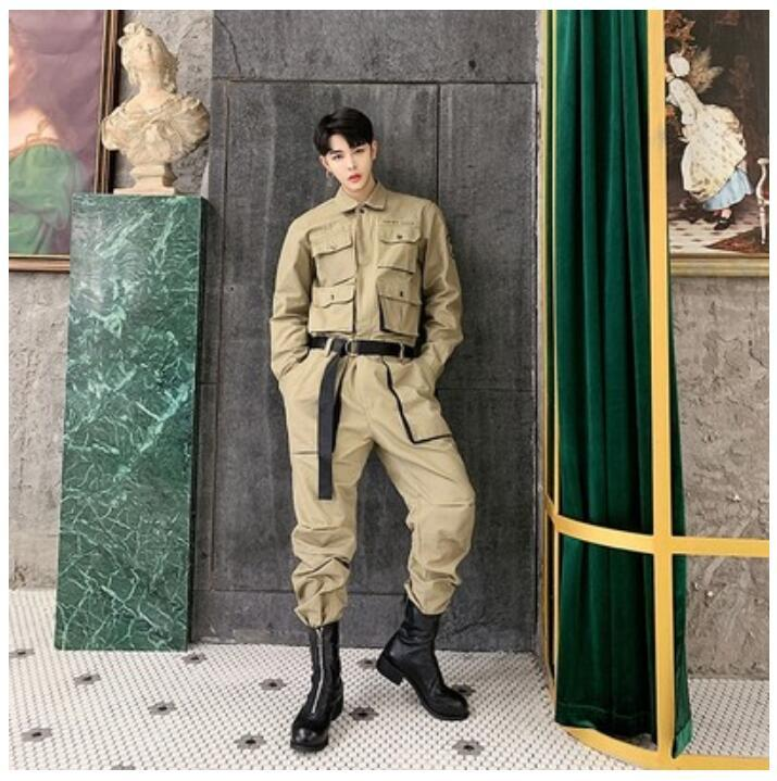 2020 New Spring Autumn Jumpsuit Men Rompers One Piece Overalls Mens Long Sleeve Casual Multi Pockets Design Pants Male Clothes