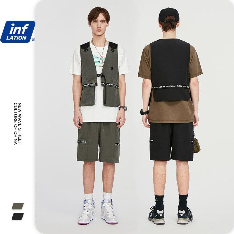 INFLATION Men Street Fashion Jersey Utility Gilet In Grey Black & Streetwear Loose Fit Men Shorter Shorts With Elastic Waist