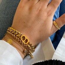 Link chain stainless steel bracelet for women Punk Letter Bracelets Curb Cuban fashion Bracelets 2021Jewelry Gift