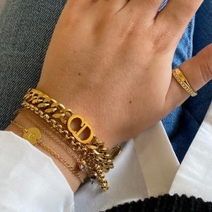 Link chain pulseira de aço inoxidável para mulheres punk carta pulseiras curb cubana moda pulseiras 2021 jóias presente