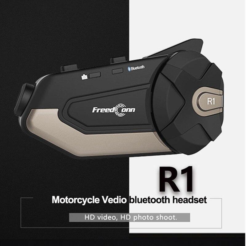 Motorcycle Intercom Wife Bluetooth 4.1 Helmet Headset Intercom Moto Intercomunicadores De Casco Moto 1080P HD  Motorcycle Camera