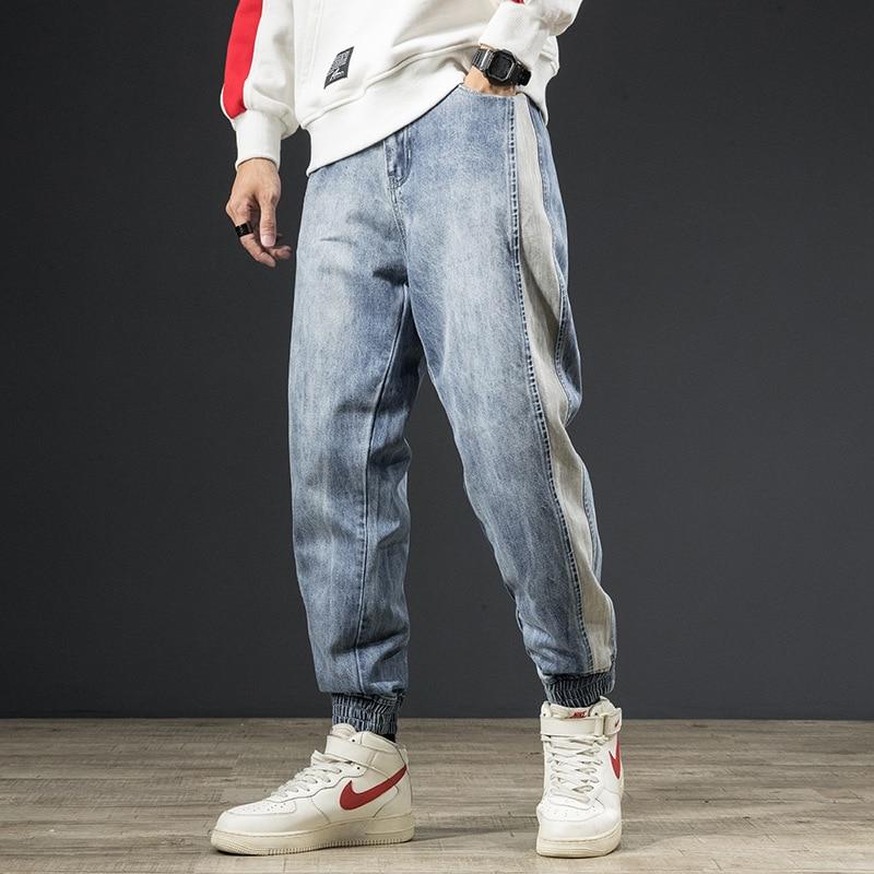 2019 Autumn Winter Fashion Men Jeans Light Blue Wash Japanese Style Vintage Loose Fit Spliced Denim Cargo Pants Hombre Embroidery Designer Harem Trousers Streetwear Korean Hip Hop Jeans Men Joggers