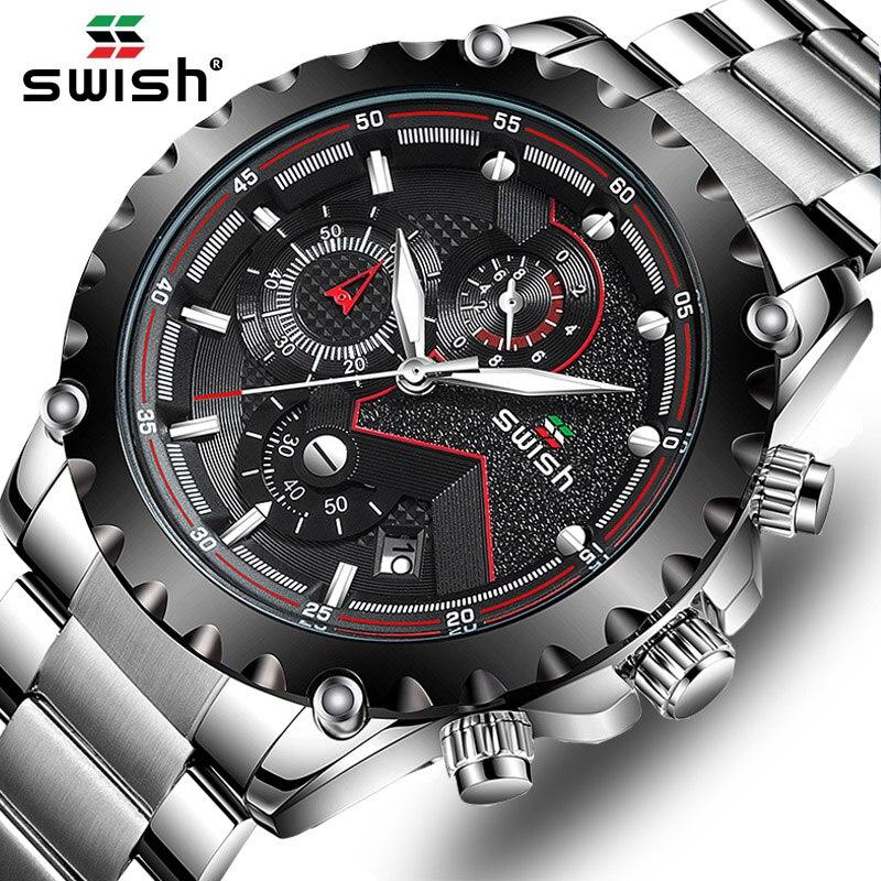 SWISH Watch Man Luxury Brand Business Quartz Watch Men's Waterproof Chronograph Sport Watch Steel Military Date Luminous Clock