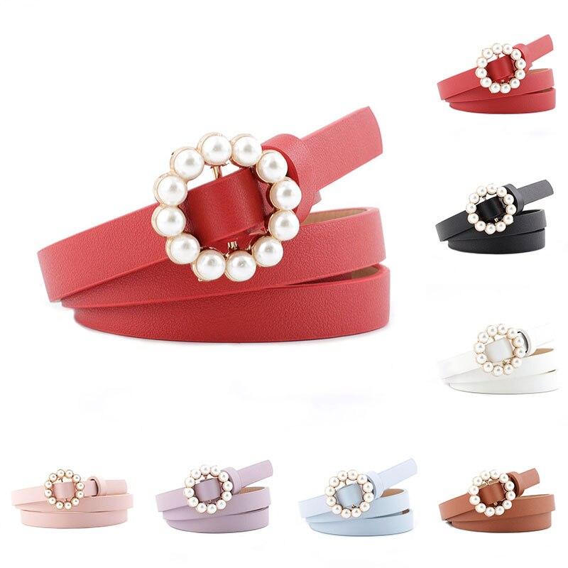 1PC Elegant Women Pearl Belt Waist Belt Elastic Round Buckle Pearl Chain Belt Female Girls Dress Faux Leather Thin Waistband