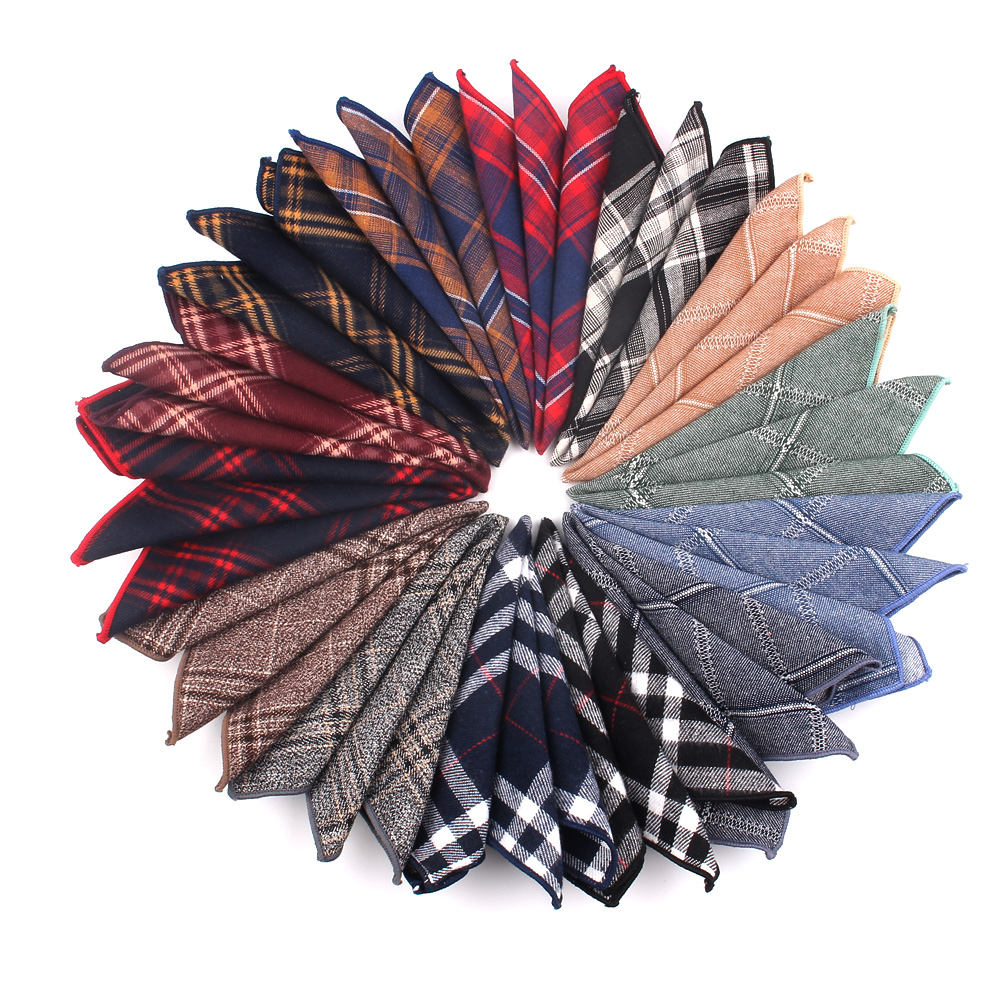 Suit Pocket Square For Men Plaid Cotton Hanky Mens Handkerchiefs Casual Suits Square Handkerchief Towels For Party Scarves