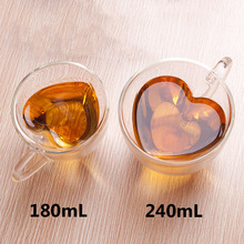 New 180mL/240mL Heart Love Shaped Double Wall Glass Mug Resistant Kungfu Tea Mug Milk Lemon Juice Cup Drinkware Lover Coffee Cup