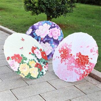 Paraguas decorativo con borla de cinta paraguas chino antiguo paño de seda fotografía accesorios de baile decoración del paraguas japonés