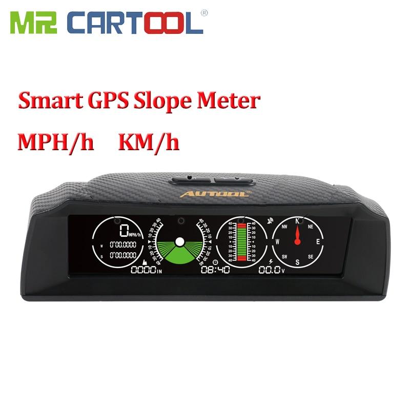 Mr Cartool compteur de pente de voiture GPS inclinomètre boussole compteur de vitesse batterie affichage de tension HUD Instrument outil