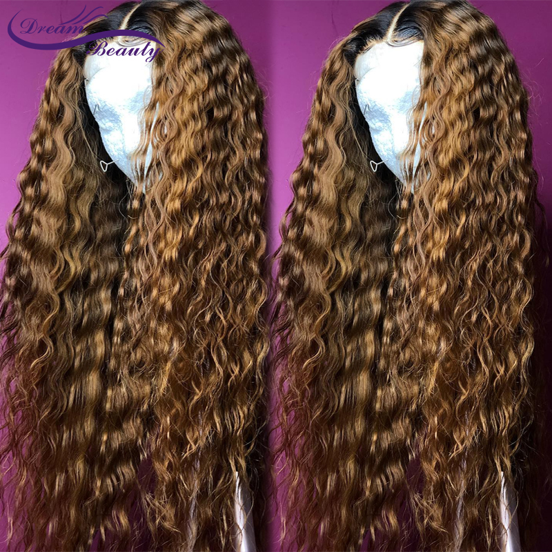 Hded3336d514f4ec79aceb96f3daba54fG Ombre Blonde Curly Wig 13x4 Lace Front Human Hair Wigs Pre Plucked Ombre 1B/27 Color Brazilian Remy Hair Baby Hair Dream Beauty