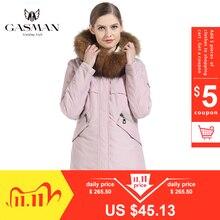 Gasman 2019 jaqueta feminina parka com capuz quente inverno para baixo jaqueta feminina rosa moda casaco feminino gola de pele elegante longo casaco 1821