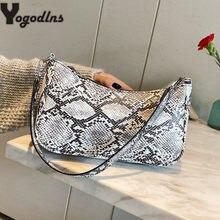 Mini sac à main rétro Vintage motif peau de serpent pour femmes, Design de luxe, sous les aisselles, sac Baguette
