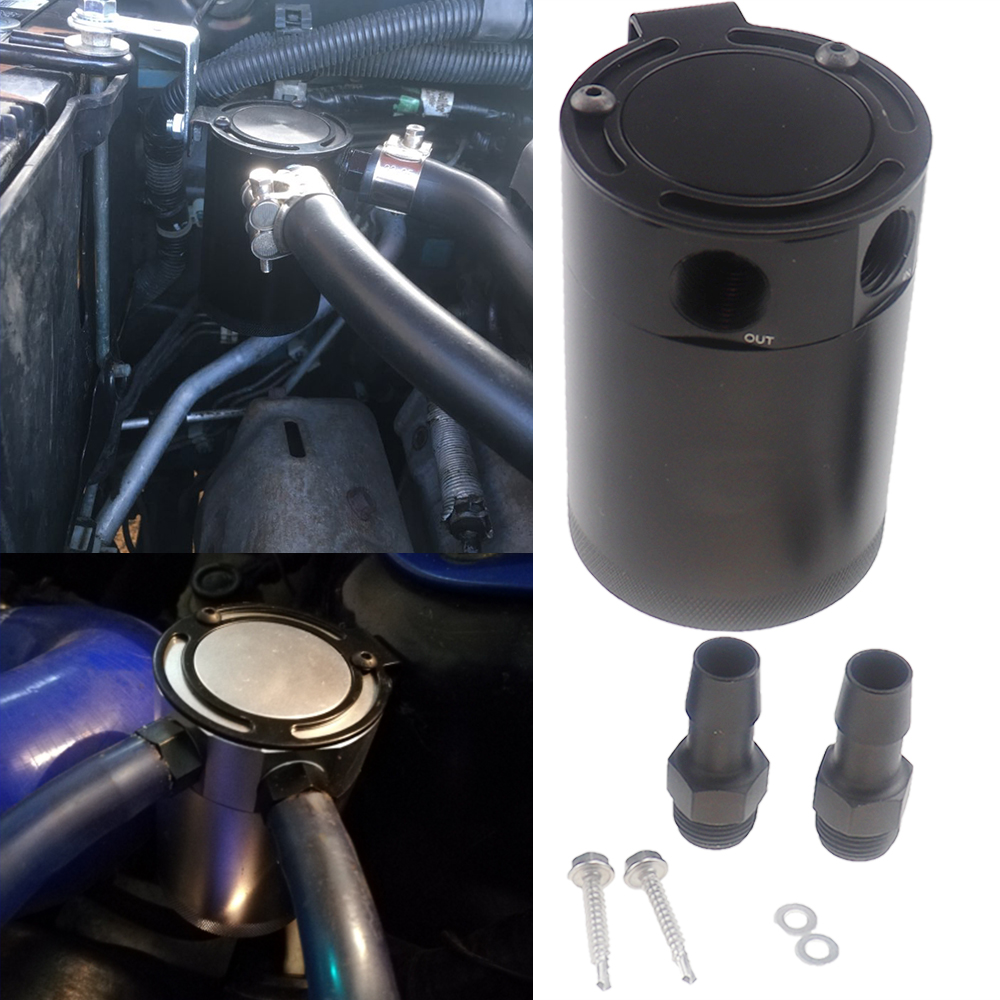 Racing Baffled 2-Port Oil Catch Fuel Tank Racing Baffled With Drain Valve Air Oil Separator Anodized Black Silver Universal