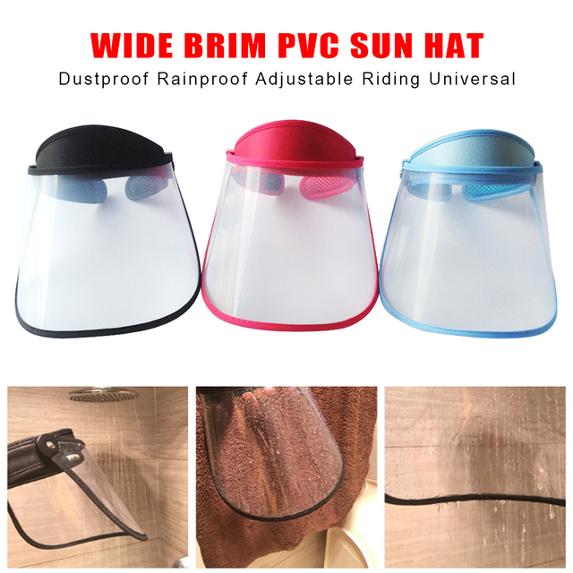 Summer Outdoor Sun Hat Men Women Saliva-proof Visor Caps Dustproof Empty Top PVC Face Shield Wide Brim Sports Sunhat Face Guard 2
