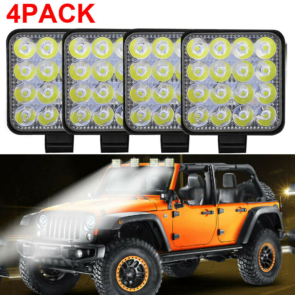 4pc 48W LED Work Light Fog Lamp Truck OffRoad Tractor Flood Lights 12-24V Square