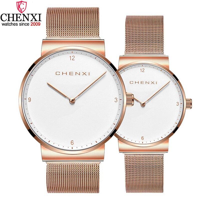 CHENXI Brand Couple Watches Rose Gold Black Minimalism Lover's Wristwatch Women Men Waterproof Fashion Casual Quartz Clock Gift