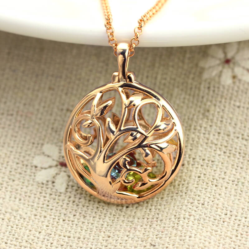 Strollgirl 925 sterling silver personalized custom birthstone chain The tree of family Hollow necklace for Women Jewelry gifts in Pendant Necklaces from Jewelry Accessories