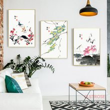 New Chinese Folk Custom Canvas Painting Ink Flower Poster Wall Art Pictures For Living Room Modern Home Decoration No Frame(China)