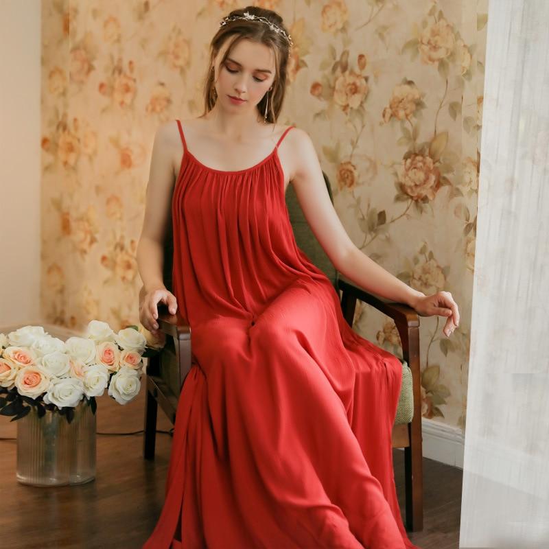 Image 4 - Women Spaghetti Strap Nightgown Wedding Birthday Solid Gown Pijamas Sexy Thin Summer Sleeveless Red Sleepwear Sleeping DressNightgowns & Sleepshirts   -