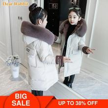 2020 Fashion Children Winter down cotton Jacket Girl clothing Kids clothes Warm Thick parka Fur Collar Hooded long Coats 3 14Y