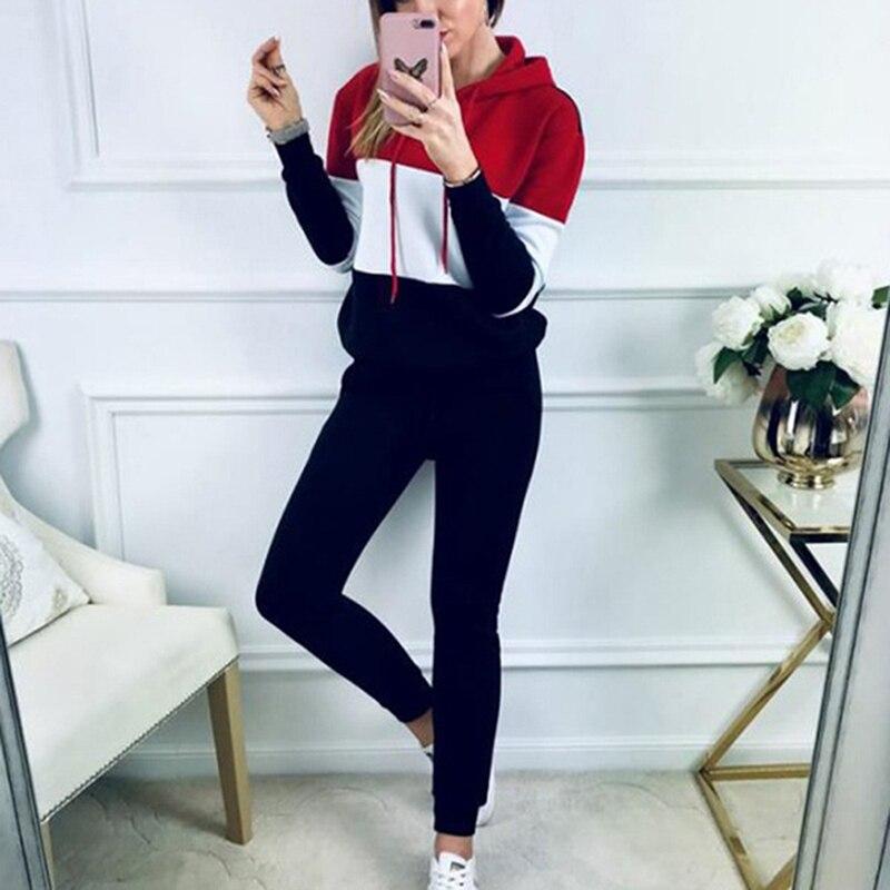 Повседневный комплект с брюками, женский осенний свитер с капюшоном, топы + длинные штаны, уличная одежда, корейский стиль, спортивный