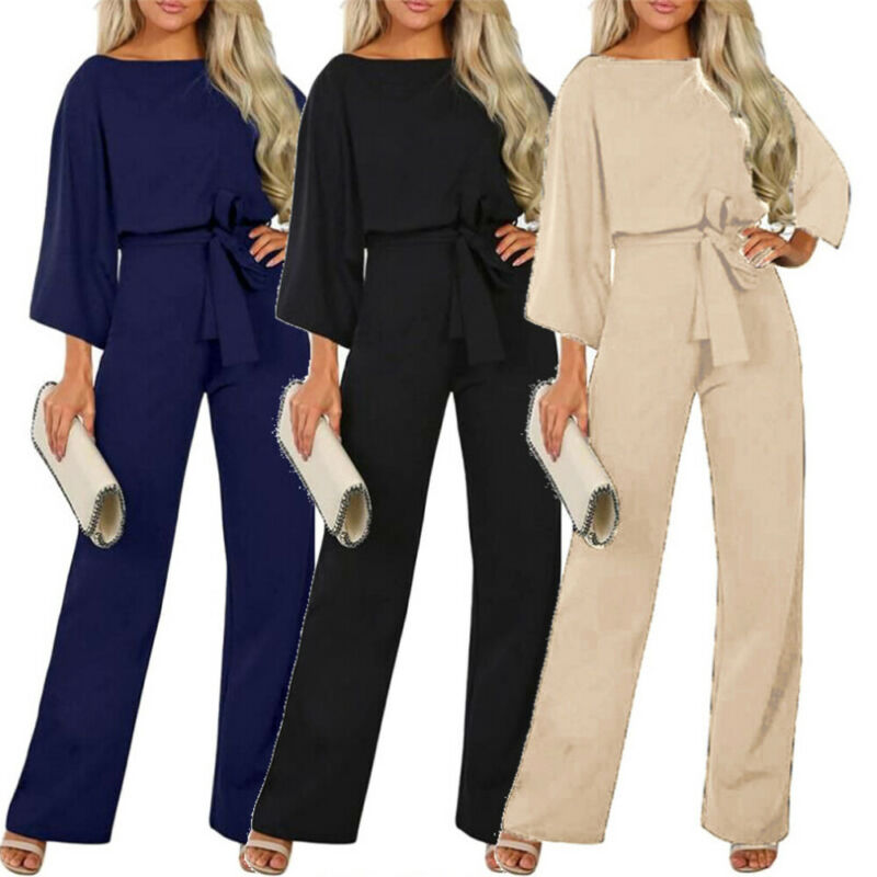 Women Jumpsuit Elegant Ladies Stretch Work Wear Bandage Romper Long Sleeve Jumpsuit Office Lady Romper Casual One Piece Playsuit