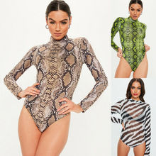 Goocheer Sexy Bodycon Long Sleeve Bodysuit Women Snake Skin Print Perspective Bodysuits High Street O-neck body femme Rompers