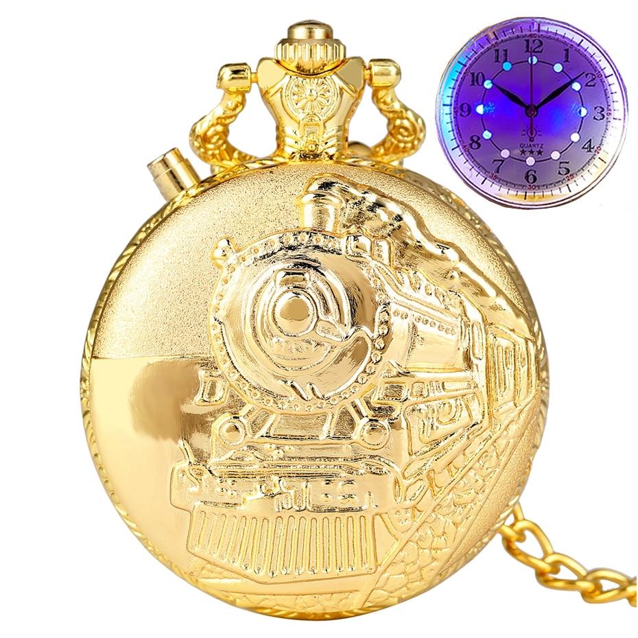 Top Luxury Gold Luminous LED Quartz Pocket Watch Train Locomotive Engine Steampunk Quartz FOB Light Watch Gifts For Men Women